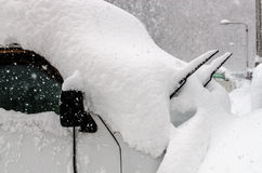 Snow Covered Car Winter Storm Stock Photography