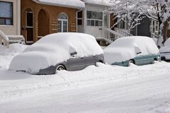 Snow-covered cars Stock Images