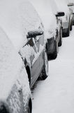 Snow covered cars Royalty Free Stock Images