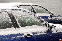 Snow-covered cars Stock Photography