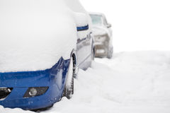 Snow covered cars with copy space Royalty Free Stock Photos