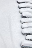 Snow covered cars with copy space Stock Photography