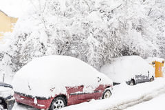 Snow covered cars and icy street in Sofia,Bulgaria Stock Image