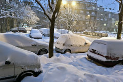 Snow covered cars in the street Stock Photography