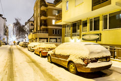 Snow covered cars  on the  street in Sofia,Bulgaria Royalty Free Stock Images