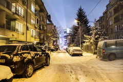 Snow covered cars  on the  street in Sofia,Bulgaria Royalty Free Stock Image