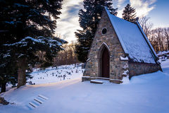Snow-covered cemetery at the Grotto of Lordes in Emmitsburg, Mar Stock Photos