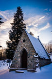 Snow-covered cemetery at the Grotto of Lordes in Emmitsburg, Mar Stock Image