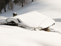 Snow covered chalet Stock Image