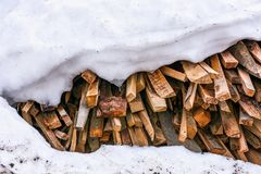 Chopped firewood background. Snow covered chopped firewood background. conceptual ecology fuel imagery Stock Photos
