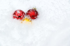 Snow Covered Christmas Ball Decorations Stock Images