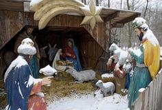 Snow-covered christmas  crib Royalty Free Stock Image