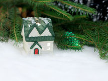 Snow-covered Christmas house Royalty Free Stock Photo