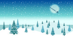 Snow Covered Christmas Night Stock Photo