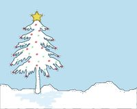 Snow Covered Christmas Tree Stock Image