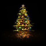 Snow Covered Christmas Tree with Multi Colored Lights Royalty Free Stock Photo