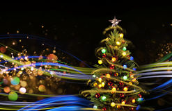 Snow Covered Christmas Tree with Multi Colored Lights Royalty Free Stock Photography
