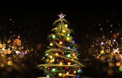 Snow Covered Christmas Tree with Multi Colored Lights Stock Images