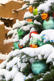 Snow Covered Christmas Tree In Santa Fe New Mexico royalty free stock image