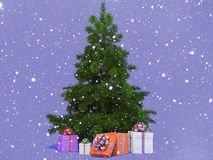 Snow-covered Christmas tree Stock Photography