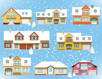 Snow covered city houses (Christmas). Vector illustration of snow covered city houses (Christmas stock illustration