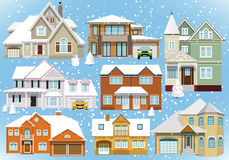 Snow covered city houses (Christmas). Vector illustration of snow covered city houses Royalty Free Stock Photos