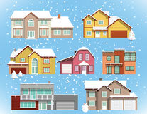 Snow covered city houses (Christmas) Royalty Free Stock Images