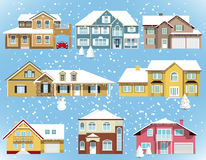 Snow covered city houses. Vector illustration of snow covered city houses Stock Image