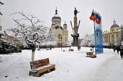 Snow covered city square, Cluj Napoca Stock Photos