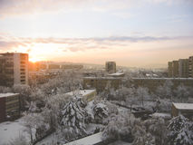 Snow covered city Royalty Free Stock Images