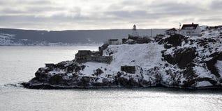 Snow covered coastline royalty free stock photo