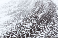 Snow covered cobblestone road Royalty Free Stock Photo