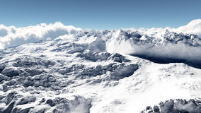 Snow Covered Cold Mountain. Highly detained snow covered mountain illustration. Some small details are only visible at hundred percent zoomed view Stock Images