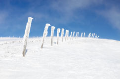 Snow-covered columns on the top of mountain Royalty Free Stock Photography
