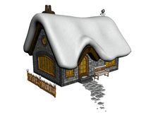 Snow covered cottage. 3d illustration of quaint snow covered cottage isolated on white background Stock Photos