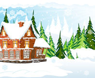 Snow covered cottage Royalty Free Stock Photography