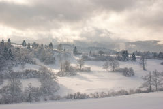 Snow covered country. Country covered in fresh snow Royalty Free Stock Photo