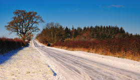 Snow covered country road. A Snow covered country road on a bright winters day stock photos