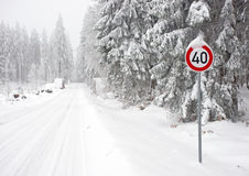 Snow covered countryside road Royalty Free Stock Photography