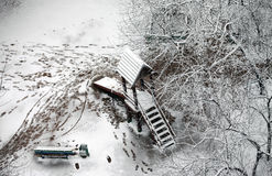 Snow-covered court yard Royalty Free Stock Image