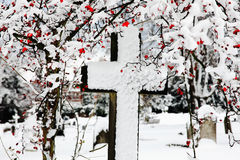 Snow covered cross Stock Photography