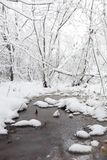 Snow-covered de winterpark en banken Park en pijler voor het voeden Royalty-vrije Stock Foto