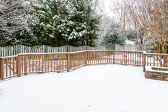 Snow Covered Deck royalty free stock photos