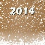 Snow-covered Document aantallen van nieuwe 2014 Stock Foto