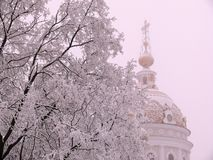 Snow-covered dome of the church. The snow-covered dome of the church of Peter and Fevronia of Murom in Donetsk royalty free stock image