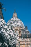 St. Peter`s Snow. Snow covered the dome of St. Peter in the Vatican Royalty Free Stock Photos
