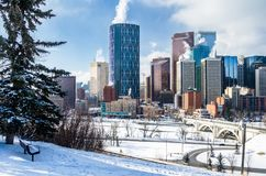 Snow Covered Downtown Calgary on a Winter Morning royalty free stock image