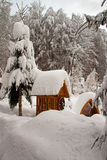 A snow-covered draw well Royalty Free Stock Images