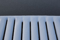 Snow covered edge of a wooden pier. Stock Photo