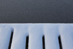 Snow covered edge of a wooden pier. Royalty Free Stock Images